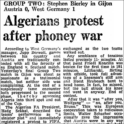 The Guardian reporting the West Germay - Austria stitch-up at the 1982 World Cup