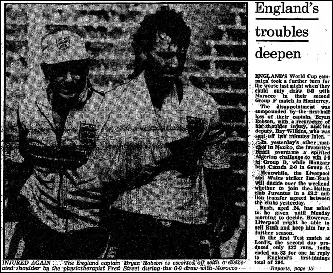 1986 match report of England versus Morocco at the World Cup