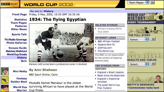 2002 BBC World Cup site feature on Egypt