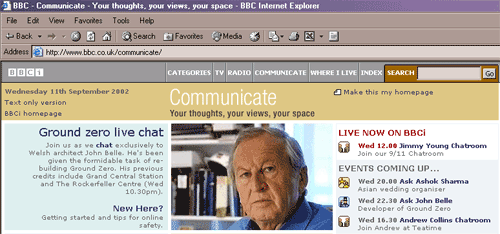 The BBCi Communicate page in 2002