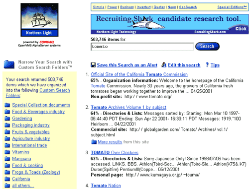 Northern Light search engine in 2001