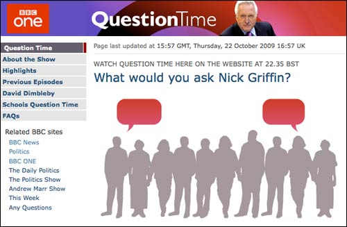 Question Time website