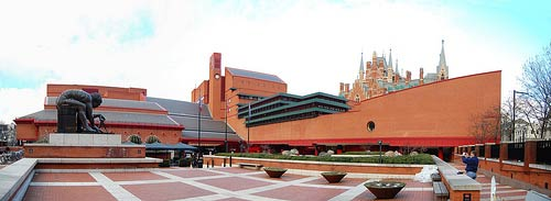 Wide angle view of the British Library