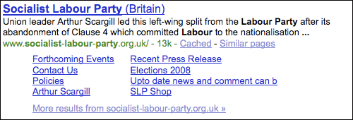 Socialist Labour Party Google search results