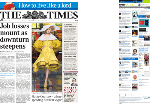 The Times homepage and front page comparison
