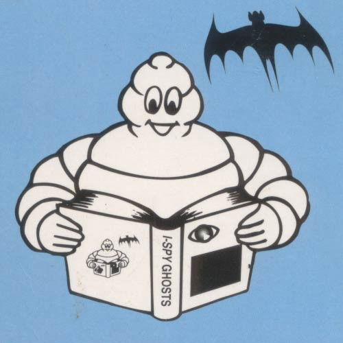 Back cover featuring the Michelin Man and a bat