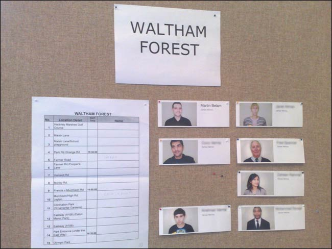 Waltham Forest particpants on the notice board