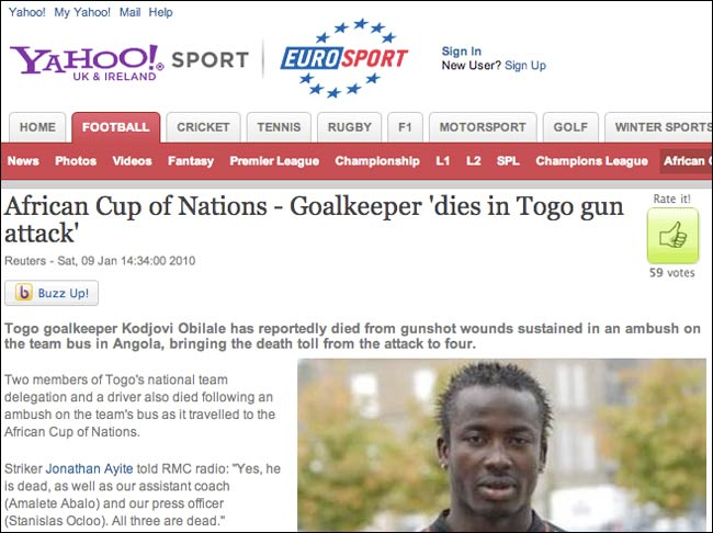 Eurosport story on the 'death' of Kodjovi Obilale