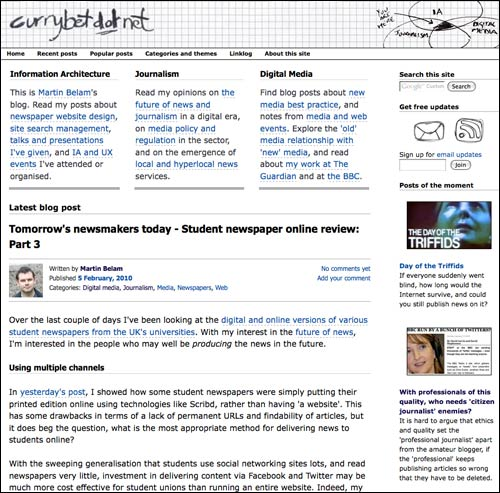 Currybetdotnet homepage in 2010