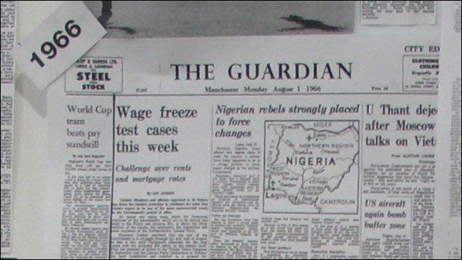 A map of Nigeria is on the Manchester Guardian's front page when England win the World Cup in 1966