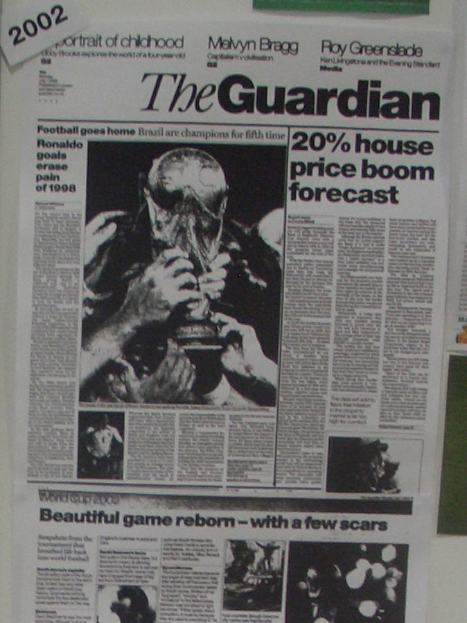 2002 Guardian front page after the World Cup Final