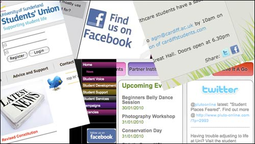 Student Union sites littered with social networking logos