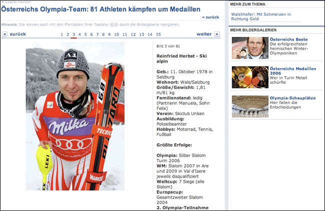 Photo gallery of Austrian athletes in Die Presse