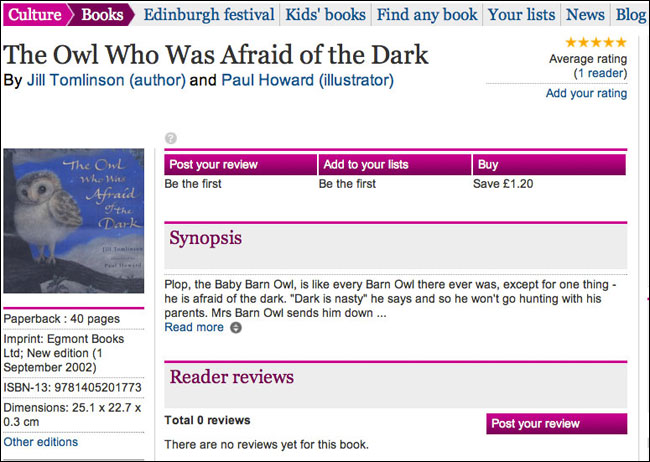 'Owl Who Was Afraid Of The Dark' on the Guardian Books site