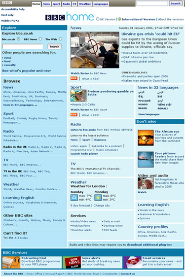 International Facing Homepage at launch in 2005