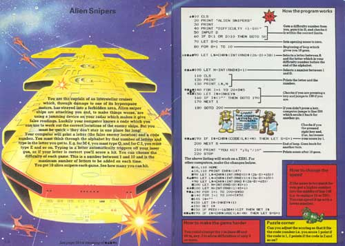 "A two-page spread from ""The Beginner's Computer Handbook - Understanding & Programming The Micro"" with the code for the game ""Alien Snipers"""