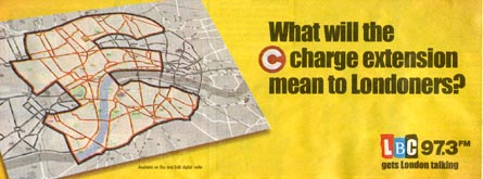 LBC advert asking what the proposed expansion of the Congestion Charge will mean for Londoners