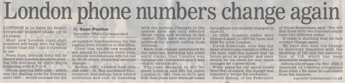 Article from the Dail Mail - London phone numbers change again