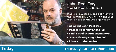 John Peel promo on the BBC homepage
