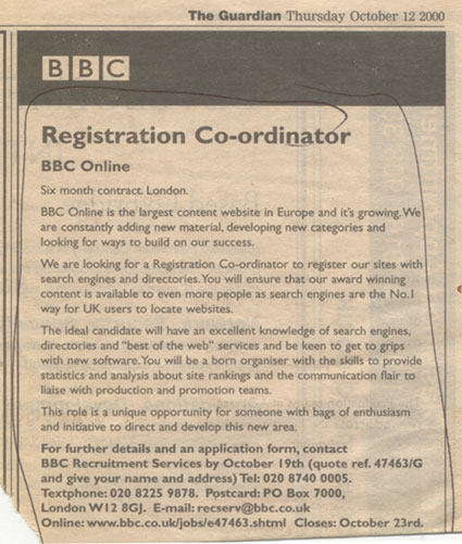 The advert for my first job at the BBC