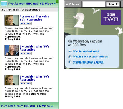 This stream of The Apprentice and the catch-up clips were not available from the search A/V results