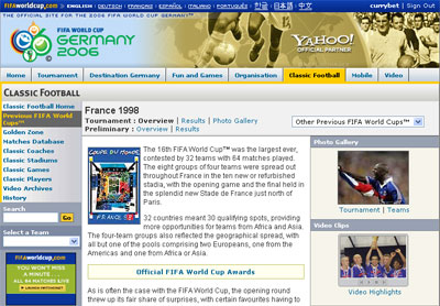 France 98 homepage at Yahoo!s World Cup site