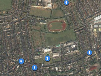 Flickr map of Walthamstow featuring the Town Hall, athletics track, and my old house