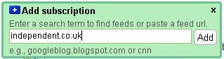 Searching for feeds in Google Reader