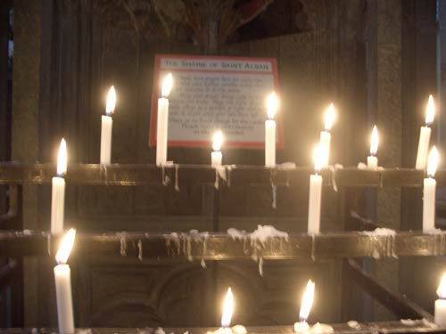 Candles at Saint Alban's shrine