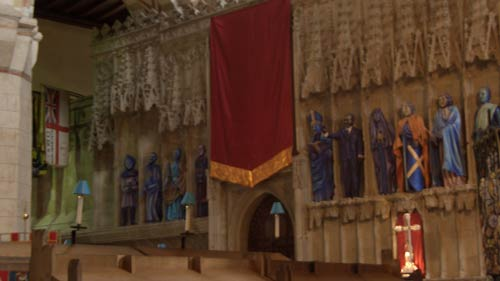 Blue statues in St Albans Cathedral