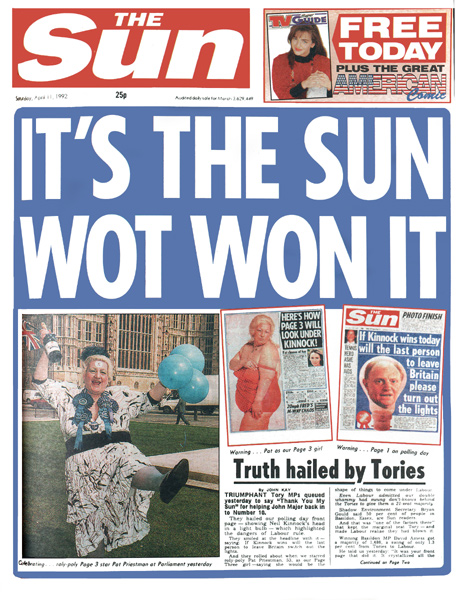 The Sun 'Wot Won It' front page from 1992