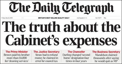 Telegraph MP Expenses front page
