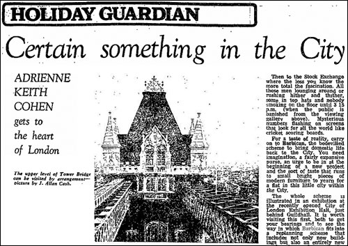1960s Holiday Guardian article about the City of London