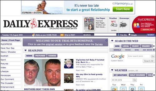 Daily Express homepage