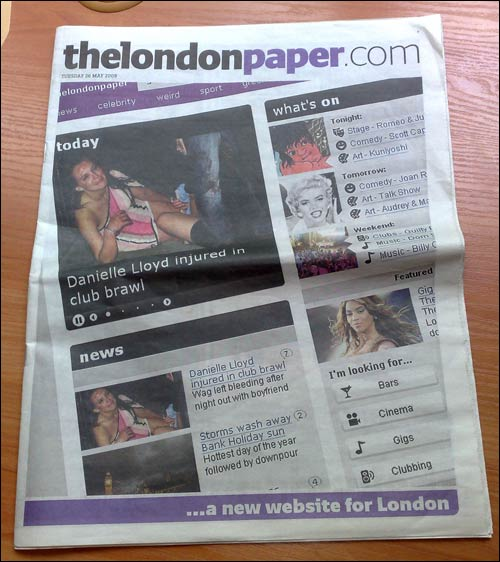 Londonpaper website promotion wraparound front