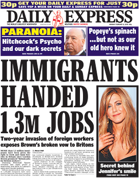 Daily Express doom-mongering front page