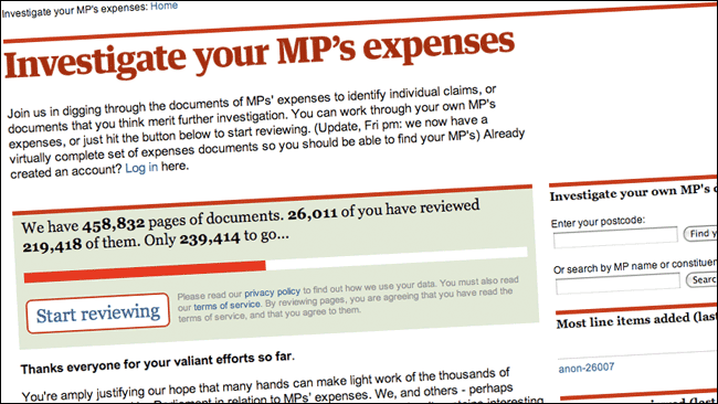 The Guardian MPs Expenses app