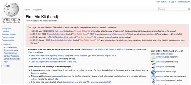 First Aid Kit deleted on Wikipedia