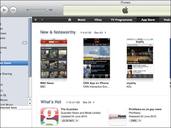 The Guardian & BBC news apps on the same page of the iTunes store