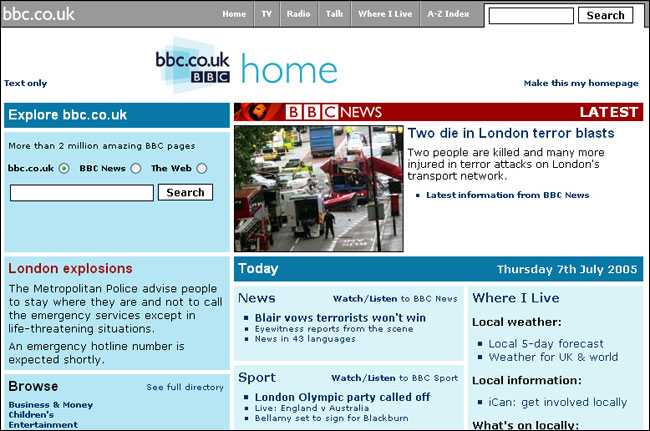The BBC's homepage on July 7th