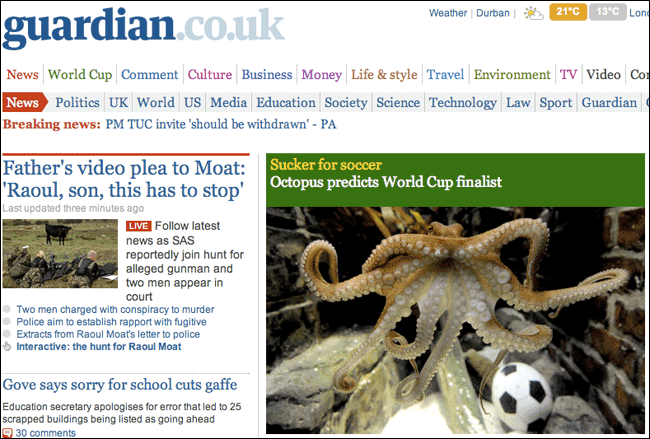 Paul the Psychic Octopus on the front page of The Guardian website