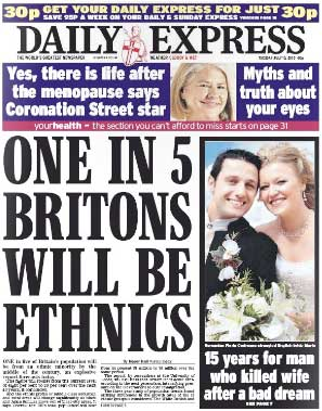 The racist Daily Express headline: One in five Britons to be ethnics