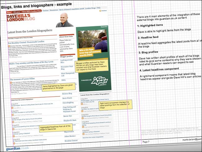Dave Hill's blogosphere featured in some of my wireframe documents
