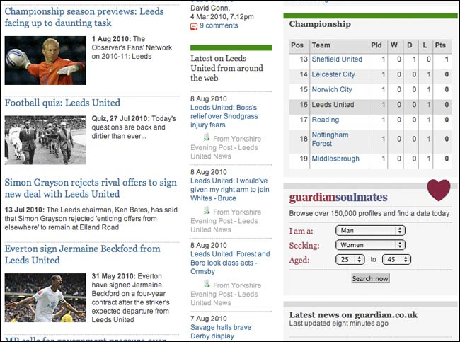 Headline feed on Leeds United tag page