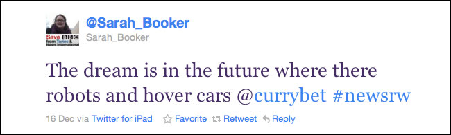 Sarah Booker inspired to tweet about robots and hovercars