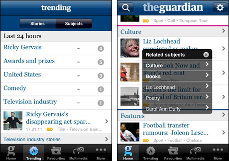 Tags on the Guardian iPhone app