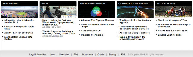 The IOC website - copyright three years ago