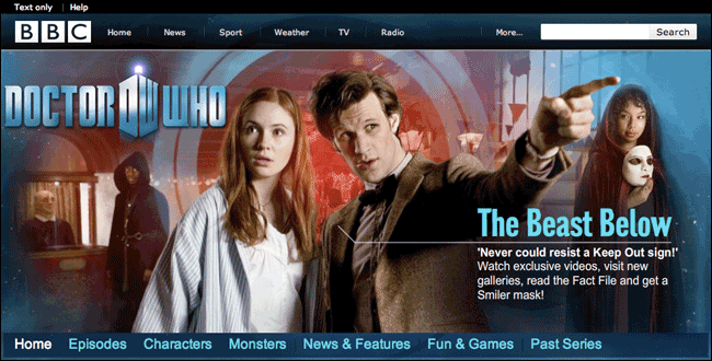 2010 Doctor Who website for episode 'The Beast Below'